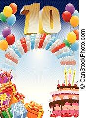 cartel, para, décimo, cumpleaños