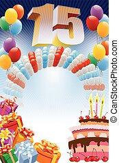 cartel, para, decimoquinto, cumpleaños