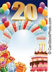 cartel, para, vigésimo, cumpleaños