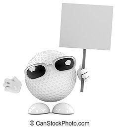 cartel, pelota, golf, 3d