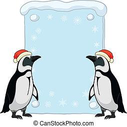 cartel, pingüinos, navidad