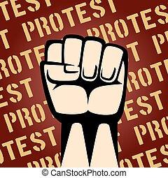 cartel, protesta, arriba, puño