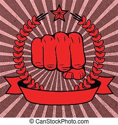 cartel, puño, cinta, rojo, apretado