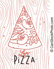 cartel, rebanada, amor, pizza