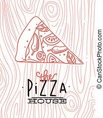 cartel, rebanada, madera, pizza