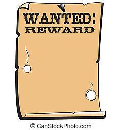 cartel, recompensa, querido, occidental, señal