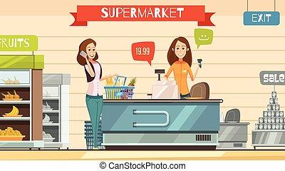 cartel, registro, cajero, supermercado, retro, caricatura