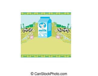 cartel, resumen, pastar, aguamiel, vacas, cartón, leche