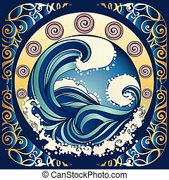 cartel, retro, mar tempestuoso