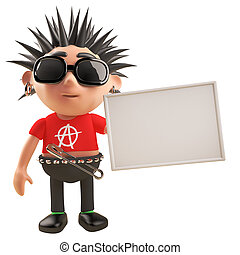 cartel, roca del punk, pelo de spikey, tenencia, blanco, carácter, caricatura, ilustración, 3d