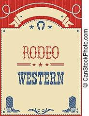 cartel, rodeo, texto, norteamericano, vaquero