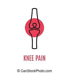 cartel, rodilla, médico, lineal, estilo, dolor, coyuntura, ...