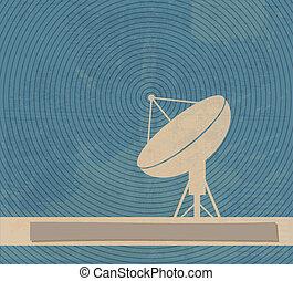 cartel, satélite, retro, dish.