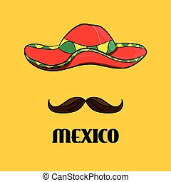 cartel, sombrero, y, bigote, verdadero, mexicano, accesorios