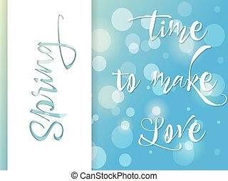 cartel, tarjeta, amor, saludo, primavera, vector, tiempo