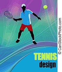 cartel, tenis, diseño