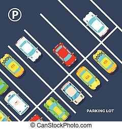 cartel, terreno, estacionamiento