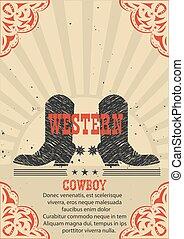 cartel, vaquero, occidental, botas, fondo.