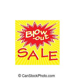 cartel, venta, ilustración, vector, retro, inscripción