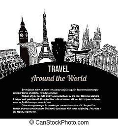 cartel, viaje, alrededor, mundo, retro