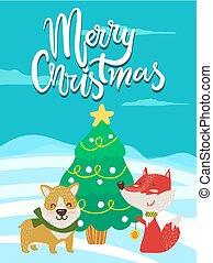 cartel, zorro, felicitación, navidad, alegre