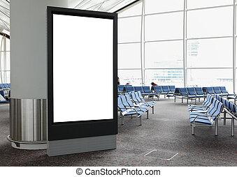 cartelera, aeropuerto, blanco