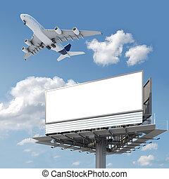 cartelera, avión, cielo, blanco