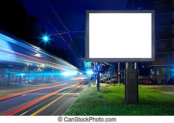 cartelera, ciudad, pantalla, calle, blanco