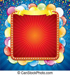 cartelera, colorido, festivo