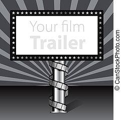 cartelera, con, filme, ilustración