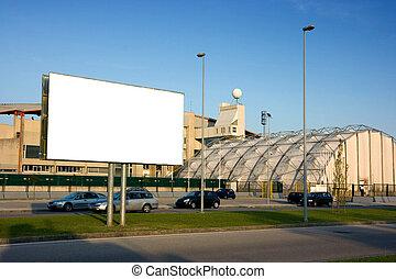 cartelera, exterior, estadio, blanco