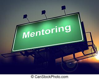 cartelera, fondo., mentoring, -, salida del sol