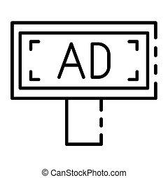cartelera, icono, estilo, anuncio, contorno