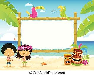 cartelera, niños, hawaiano