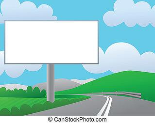cartelera, país, publicidad, road.