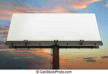 cartelera, y, cielo de puesta de sol