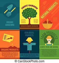 carteles, ecológico, conjunto
