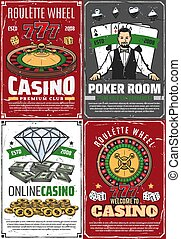 carteles, fortuna, retro, crupier, ruleta, casino