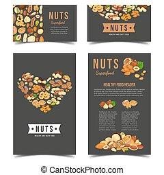 carteles, nuez, nutrición, vegetariano,  vertical