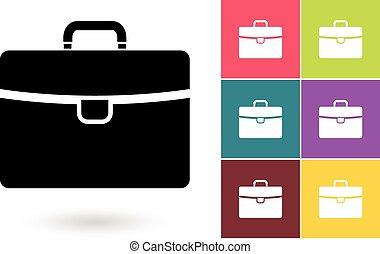 cartella, affari, simbolo, vettore, o, icona
