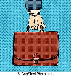 cartella, affari, valigia
