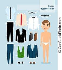 cartella, camicia, , carta, businessman., completo, occhiali