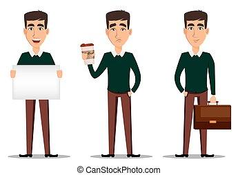 cartella, cartellone, coffee., tazza, giovane, uomo affari, sorridente, bello, casuale, far male, vestiti