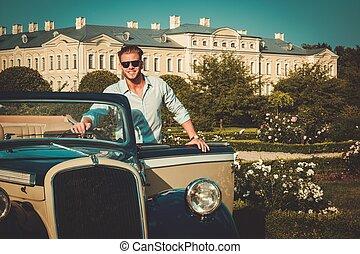 cartella, classico, giovane, fiducioso, ricco, convertibile,...