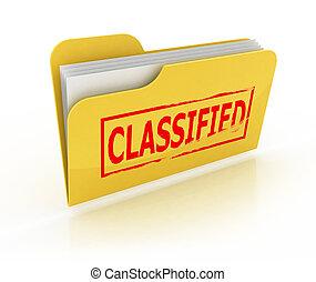 cartella, classificato, icona