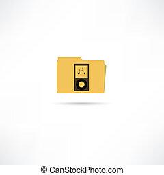 cartella, con, musica, icona