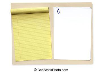 cartella di file, con, blocco note, e, carta