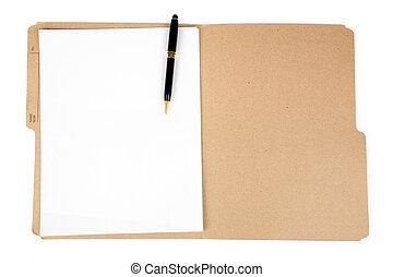 cartella di file, e, penna