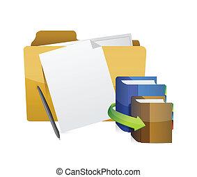 cartella, educazione, disegno, oggetti, illustrazione