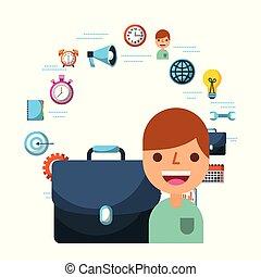 cartella, persone affari, lavoro ufficio, icone